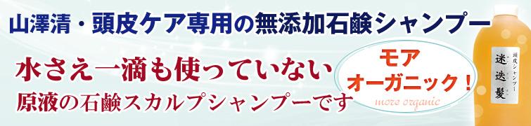 モアオーガニック!山澤清・頭皮ケア専用の完全無添加石鹸シャンプー  水さえ一滴も使っていない原液の石鹸スカルプシャンプー