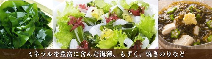 海藻類   ミネラルを豊富に含んだ海藻、もずく、焼きのりなど