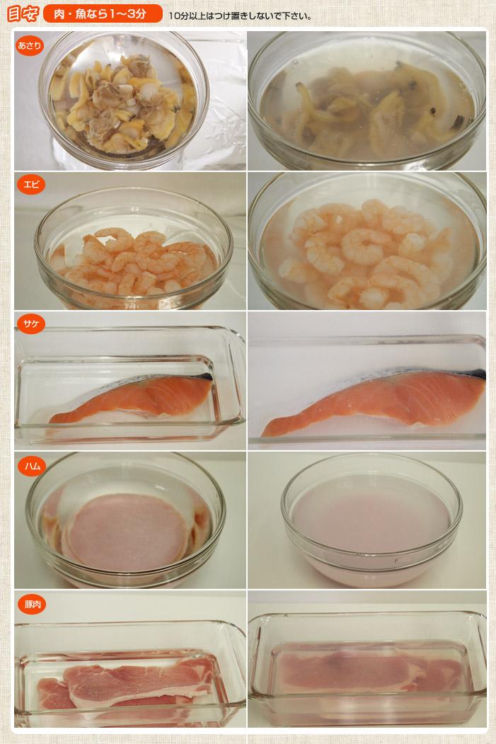 フードウォッシャー<食材革命>の使用前後あさり、エビ、シソ、サケ、トマト、プチトマト、もやし、ブドウ、豚肉、ハム