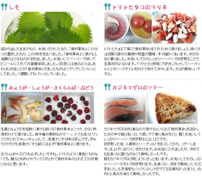 「食材革命」のメーカー関係者のお料理コメント;しそトマトとタコのマリネ、みょうが・しょうが・さくらんぼ・ぶどう、カジキマグロのソテー