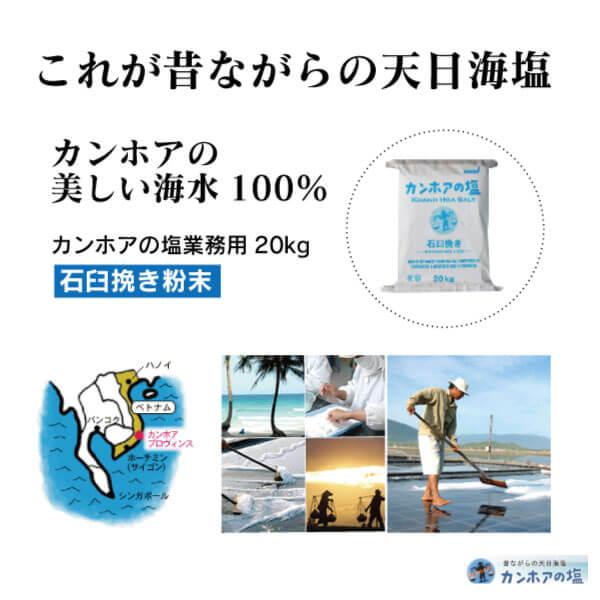 天日海塩 カンホアの塩 粉末タイプ石臼挽き 業務用20kg