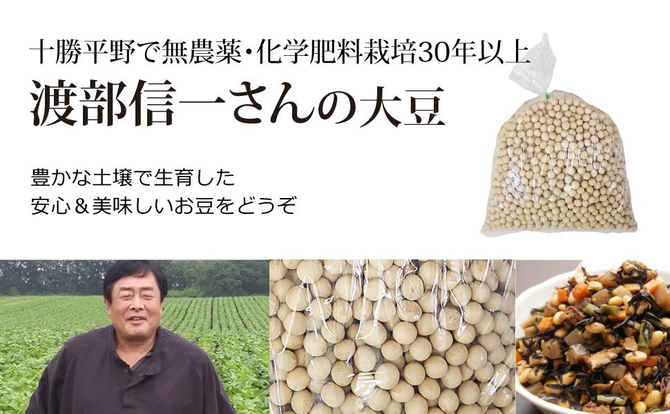 十勝平野で無農薬・無化学肥料栽培30年以上渡部信一さんの小豆(30kg)